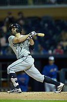 Ryan LaMarre (7) of the Gwinnett Braves follows through on his swing against the Durham Bulls at Durham Bulls Athletic Park on April 20, 2019 in Durham, North Carolina. The Bulls defeated the Braves 3-2 in game two of a double-header. (Brian Westerholt/Four Seam Images)