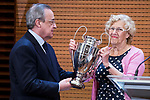 Madrid Mayor Manuela Carmena and Real Madrid president Florentino Perez during visit to Madrid Council during  the celebration of the 13th UEFA Championship in Madrid, June 04, 2017. Spain.<br /> (ALTERPHOTOS/BorjaB.Hojas)
