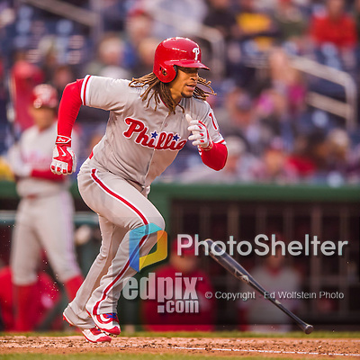 28 April 2016: Philadelphia Phillies second baseman Emmanuel Burriss at bat against the Washington Nationals at Nationals Park in Washington, DC. The Phillies shut out the Nationals 3-0 to sweep their mid-week, 3-game series. Mandatory Credit: Ed Wolfstein Photo *** RAW (NEF) Image File Available ***