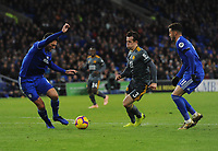 Leicester City's Ben Chilwell vies for possession with Cardiff City's Sean Morrison<br /> <br /> Photographer Kevin Barnes/CameraSport<br /> <br /> The Premier League -  Cardiff City v Leicester City - Saturday 3rd November 2018 - Cardiff City Stadium - Cardiff<br /> <br /> World Copyright © 2018 CameraSport. All rights reserved. 43 Linden Ave. Countesthorpe. Leicester. England. LE8 5PG - Tel: +44 (0) 116 277 4147 - admin@camerasport.com - www.camerasport.com