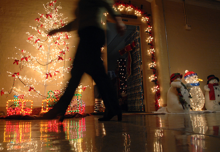 A Christmas light scene appears in the basement of the Capitol, displayed by the CAO Service Center, outside of their office.