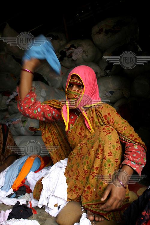 A woman garment factory worker.