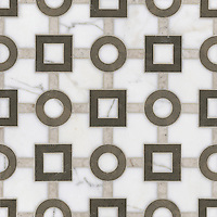 Marlene, a stone water jet mosaic, shown in Calacatta Tia, Montevideo, and Socorro Gray, is part of the Ann Sacks Beau Monde collection sold exclusively at www.annsacks.com
