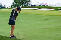 Stephanie Meadow (NIR) chips on to 15 during Wednesday's preview of the 72nd U.S. Women's Open Championship, at Trump National Golf Club, Bedminster, New Jersey. 7/12/2017.<br /> Picture: Golffile | Ken Murray<br /> <br /> <br /> All photo usage must carry mandatory copyright credit (&copy; Golffile | Ken Murray)