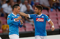 Napoli's Jose Callejon  and Napoli's Dries Mertens  celebrate after scoring during the Europa  League Group D soccer match against Brugge  at the San Paolo  Stadium in Naples September 17, 2015