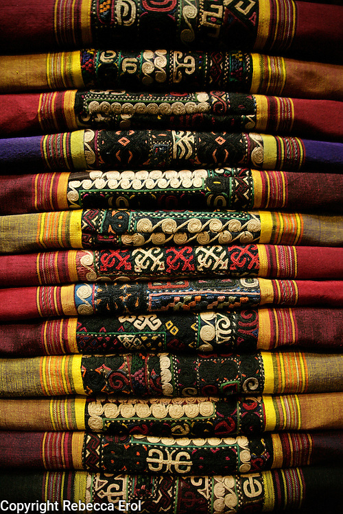Embroidered fabrics for sale at the Grand Bazaar, Istanbul, Turkey