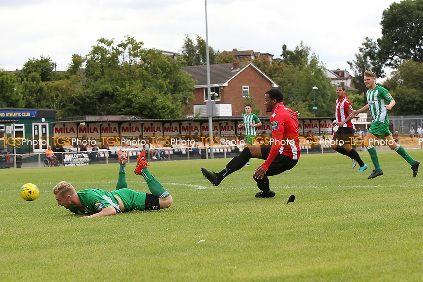 Theo Fairweather-Johnson of Hornchurch has an early chance during AFC Hornchurch vs Soham Town Rangers, Bostik League Division 1 North Football at Hornchurch Stadium on 12th August 2017