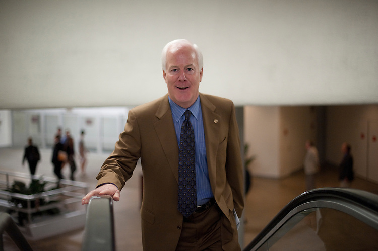 UNITED STATES - August 2: John Cornyn, R-TX., enters the U.S. Capitol from the Senate subway on August 2, 2011. (Photo By Douglas Graham/Roll Call)