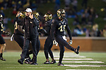 Paris Black (45) of the Wake Forest Demon Deacons reacts after recovering a fumble during second half action against the North Carolina State Wolfpack at BB&T Field on November 18, 2017 in Winston-Salem, North Carolina.  The Demon Deacons defeated the Wolfpack 30-24.  (Brian Westerholt/Sports On Film)