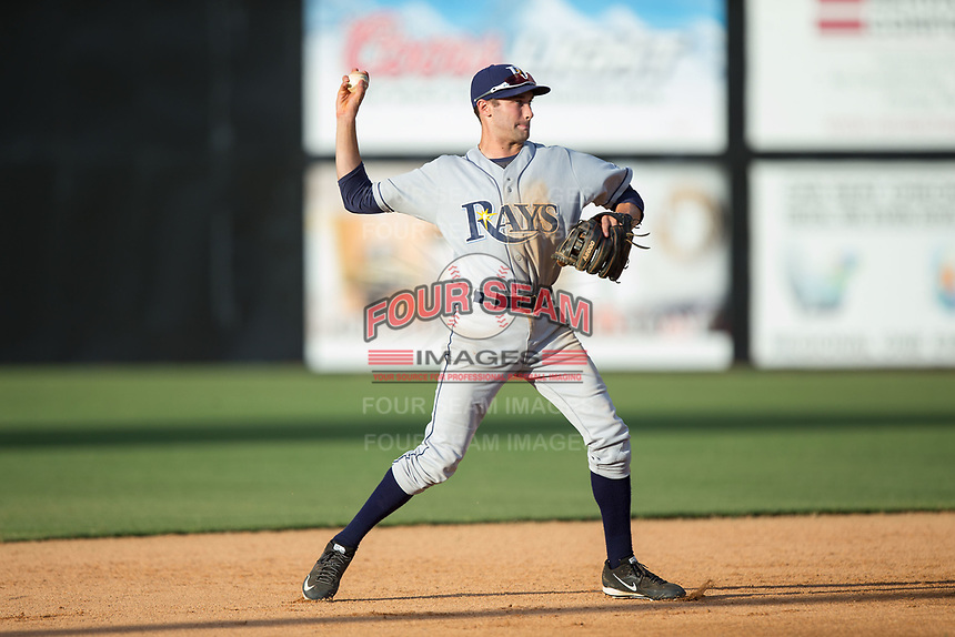 Princeton Rays shortstop Zach Rutherford (10) makes a throw to first base against the Danville Braves at American Legion Post 325 Field on June 25, 2017 in Danville, Virginia.  The Braves walked-off the Rays 7-6 in 11 innings.  (Brian Westerholt/Four Seam Images)