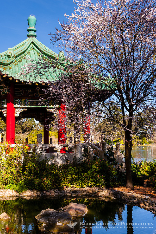 United States, California, San Francisco. Golden Gate park is the third most visited city park in the United States. A Pagoda by Stow Lake.
