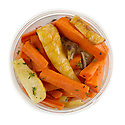 Roasted vegetables in a takeout container to enjoy at home
