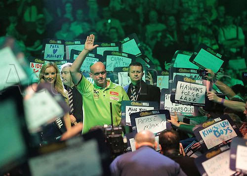 29.12.2015. Alexandra Palace, London, England. William Hill PDC World Darts Championship. Michael van Gerwen prepares to enter the stage