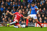 Gareth Evans of Portsmouth right is tackled by Alfie Jones of Gillingham  during Portsmouth vs Gillingham, Sky Bet EFL League 1 Football at Fratton Park on 12th October 2019