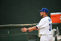 Adam Bray (38) of the Rancho Cucamonga Quakes stretches before pitching against the Modesto Nuts at LoanMart Field on August 2, 2017 in Rancho Cucamonga, California. Modesto defeated Rancho Cucamonga, 10-5. (Larry Goren/Four Seam Images)