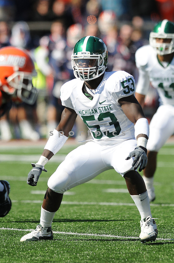 GREG JONES, of the Michigan State University Spartans in action during the Spartans game against Illinois Illini in Champaign, IL on October 10, 2009.  The Spartans  beat the Illini 24-14..