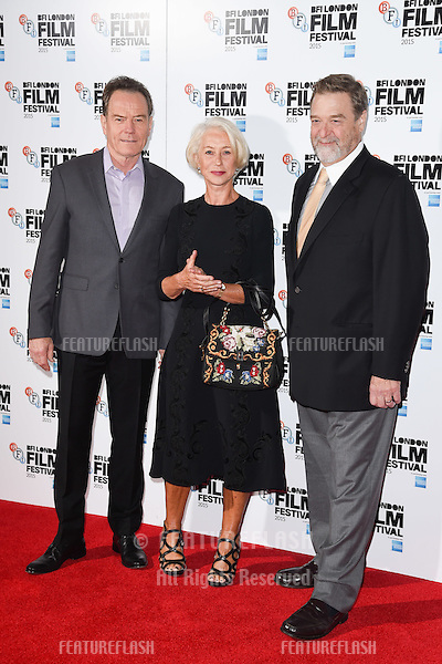 Bryan Cranston, Dame Helen Mirren &amp; John Goodman at the photocall for &quot;Trumbo&quot; at the Corinthia Hotel, London.<br /> October 8, 2015  London, UK<br /> Picture: Steve Vas / Featureflash
