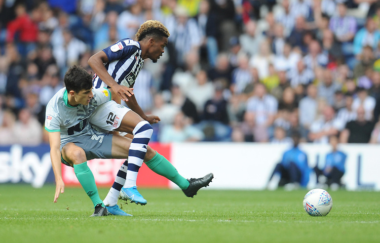 Blackburn Rovers' John Buckley vies for possession with West Bromwich Albion's Grady Diangana<br /> <br /> Photographer Kevin Barnes/CameraSport<br /> <br /> The EFL Sky Bet Championship - West Bromwich Albion v Blackburn Rovers - Saturday 31st August 2019 - The Hawthorns - West Bromwich<br /> <br /> World Copyright © 2019 CameraSport. All rights reserved. 43 Linden Ave. Countesthorpe. Leicester. England. LE8 5PG - Tel: +44 (0) 116 277 4147 - admin@camerasport.com - www.camerasport.com