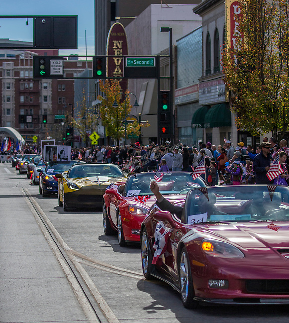 A photograph taken during the Veterans Day Parade in downtown Reno on Saturday, Nov. 11, 2017.