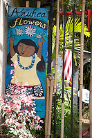Hand-painted sign for Anuhea Flower Shop in Makawao, Maui