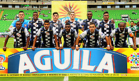 PALMIRA - COLOMBIA - 14 - 02 - 2018: Los jugadores de Boyaca Chico F. C., posan para una foto, durante partido de la fecha 3 por la liga Aguila I 2018, jugado en el estadio Deportivo Cali (Palmaseca) en la ciudad de Palmira. / The players of Boyaca Chico F. C., pose for a photo, during a match of the 3rd date for the Liga Aguila I 2018, at the Deportivo Cali (Palmaseca) stadium in Palmira city. Photo: VizzorImage  / Nelson Rios / Cont.