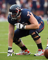 Virginia offensive tackle Jay Whitmire (77) Duke defeated Virginia 35-22 at Scott Stadium in Charlottesville, VA. . Photo/Andrew Shurtleff