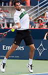 Jeremy Chady (FRA) loses to Novak Djokovic (SRB) 6-4, 6-4 at the Rogers Cup in Montreal,  on August 15, 2015.