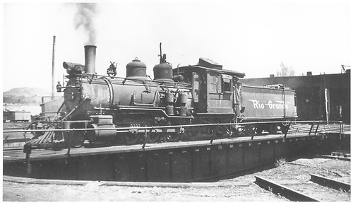 3/4 fireman's-side view of D&amp;RGW #320 on the Durango turntable.<br /> D&amp;RGW  Durango, CO