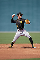 Pittsburgh Pirates Ji-Hwan Bae (18) during a minor league Spring Training game against the Philadelphia Phillies on March 13, 2019 at Pirate City in Bradenton, Florida.  (Mike Janes/Four Seam Images)