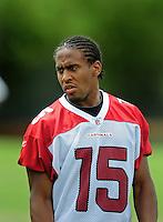May 20, 2009; Tempe, AZ, USA; Arizona Cardinals wide receiver Steve Breaston during organized team activities at the Cardinals practice facility. Mandatory Credit: Mark J. Rebilas-