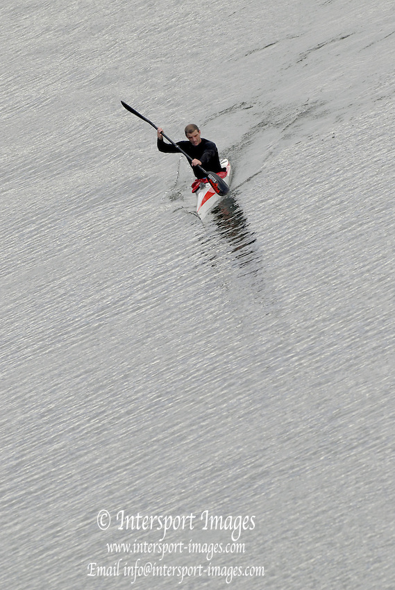 """Seville. SPAIN, 17.02.2007, Canoe, Kayak approaching  the """"Puente de la Alamillo""""  [bridge]  on the River Guadalquiver Rowing and Canoeing  course. [Photo Peter Spurrier/Intersport Images]    [Mandatory Credit, Peter Spurier/ Intersport Images]. , Rowing Course: Rio Guadalquiver Rowing Course, Seville, SPAIN,"""