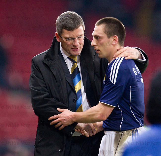 Craig Levein congratulates goalscorer Scott Brown