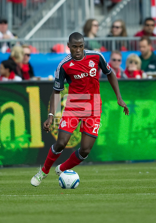 23 April 2011: Toronto FC midfielder Tony Tchani #22 in action during a game between the Columbus Crew and the Toronto FC at BMO Field in Toronto, Ontario Canada..The game ended in a 1-1 draw.