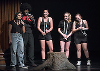 Apollo Night hosts Nina Reynoso '16 and Chance Ward '18 introduce Emily Applewhite '16, Jessica Fay '17 and Amanda Stevenson. Occidental College students perform and compete during Apollo Night, one of Oxy's biggest talent showcases, on Friday, Feb. 26, 2016 in Thorne Hall. Sponsored by ASOC, hosted by the Black Student Alliance as part of Black History Month.<br /> (Photo by Marc Campos, Occidental College Photographer)