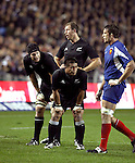 All Blacks Ali Williams, Keven Mealamu (crouched) and Chris Jack in action during the first international rugby test at Eden Park, Auckland, New Zealand, Saturday, June 02, 2007. The All Blacks beat France 42-11.
