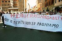 Roma 6 Settembre 2011.Manifestazione del sindacato  Usb con i comitati di base contro la manovra del governo Berlusconi.