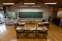 The classroom of the first grade class at. Kawauchi Elementary School, Kawauchi, Fukushima, Japan. Tuesday April 30th 2013. Kawauchi was evacuated after the accidents at Fukushima Daichi nuclear plant but has been nominally decontaminated and some of the school children have returned to classes though the first grade has only seven students..