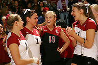 18 November 2005: Courtney Schultz and Katie Goldhahn and Kristen Hornbeak and Lizzy Suiter during Stanford's 3-2 win over California in the Big Spike at Maples Pavilion in Stanford, CA.