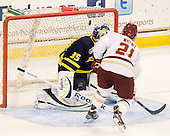 Joe Cannata (Merrimack - 35), Steven Whitney (BC - 21) - The visiting Merrimack College Warriors tied the Boston College Eagles at 2 on Sunday, January 8, 2011, at Kelley Rink/Conte Forum in Chestnut Hill, Massachusetts.