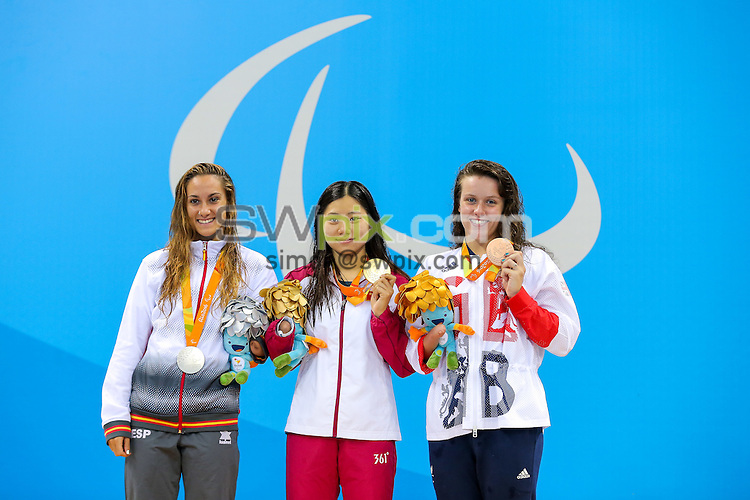 Picture by Rogan Thomson/SWpix.com - 11/09/2016 - 2016 Rio Paralympic Games - Swimming - Olympic Aquatics Centre, Rio de Janeiro, Brazil - Amy Marren of Great Britain (R) wins Bronze in the Women's 200m IM SM9 Final.