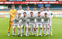 20191211 – OOSTENDE , BELGIUM : Real Madrid's players with Luis Federico of Real Madrid , Ismael Armenteros of Real Madrid , Antonio Blanco of Real Madrid , Pedro Ruiz of Real Madrid , Miguel baeza of Real Madrid , Jose Martinez Lopez of Real Madrid, Sergio Arribas of Real Madrid , Jordi ( Jorge Martin Camunas ) of Real Madrid , Pablo Ramon Parra of Real Madrid , Javier Rueda Garcia of Real Madrid and Xavier Sintes of Real Madrid pictured posing for the teampicture during a soccer game between Club Brugge KV and Real Madrid on the sixth and last matchday in group A of the UEFA Youth League - Champions League season 2019-2020 , thuesday 11 th December 2019 at the Versluys Arena in Oostende , Belgium . PHOTO SPORTPIX.BE | DAVID CATRY