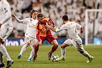 6th November 2019; Estadio Santiago Bernabeu, Madrid, Spain; UEFA Champions League Football, Real Madrid versus Galatasaray; Emre Akbaba (Gal) is tackled by Modric and Carvajal of Real - Editorial Use