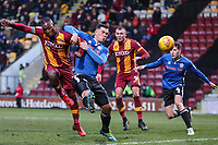 Dominic Poleon of Bradford City scores Bradfords third goal during the Sky Bet League 1 match between Bradford City and Rochdale at the Northern Commercial Stadium, Bradford, England on 9 December 2017. Photo by Thomas Gadd.