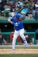 South Bend Cubs shortstop Isaac Paredes (16) at bat during a game against the Kane County Cougars on May 3, 2017 at Four Winds Field in South Bend, Indiana.  South Bend defeated Kane County 6-2.  (Mike Janes/Four Seam Images)