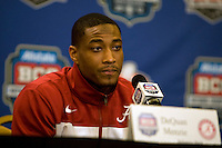 Alabama cornerback DeQuan Menzie talks with the reporters during BCS Championship Alabama Defensive Press Conference at Marriott Hotel at the Convention Center in New Orleans, Louisiana on January 7th, 2012.