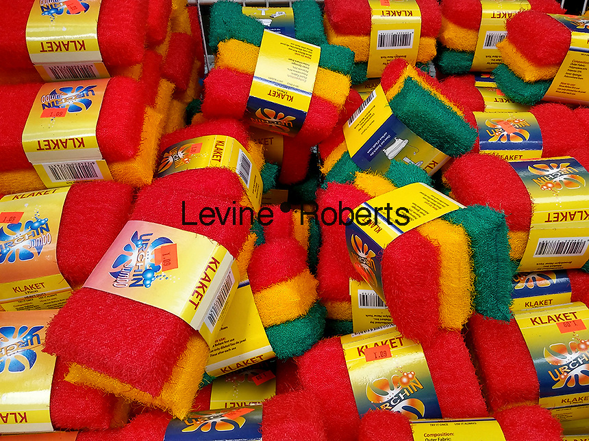 """A basket of plastic """"sponges"""" in a 99 cent store in New York on Monday, September 5, 2016. (© Richard B. Levine)"""