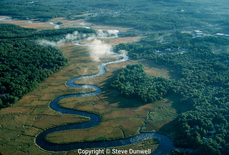Aerial view, North River, salt marsh, estuary, Hanover, MA