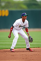 Cedar Rapids Kernels shortstop Jermaine Palacios (16) during the first game of a doubleheader against the Kane County Cougars on May 10, 2016 at Perfect Game Field in Cedar Rapids, Iowa.  Kane County defeated Cedar Rapids 2-0.  (Mike Janes/Four Seam Images)