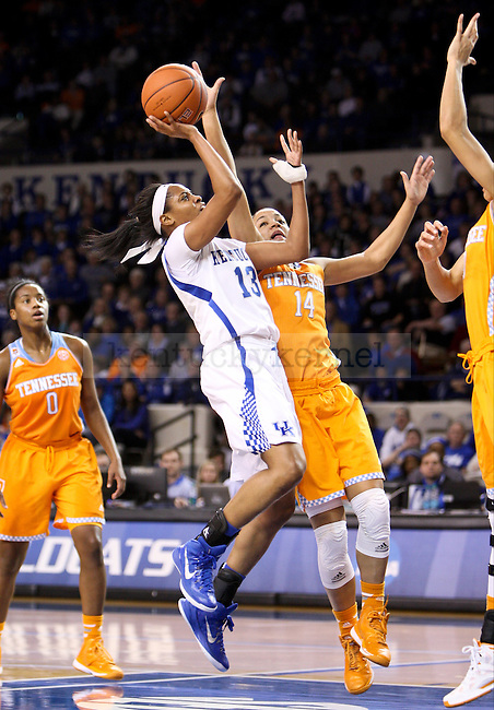 Kentucky guard Bria Goss shoots the ball during the second half of the UK Hoops versus Tennessee basketball game at Memorial Coliseum in Lexington , Ky., on Thursday, January 29, 2015. Tennessee won 73 - 72 over Kentucky. Photo by Jonathan Krueger | Staff