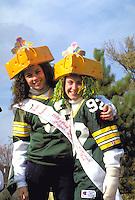 Wisconsin Cheeseheads age 15 in Anoka Halloween Festival Parade.  Anoka Minnesota USA